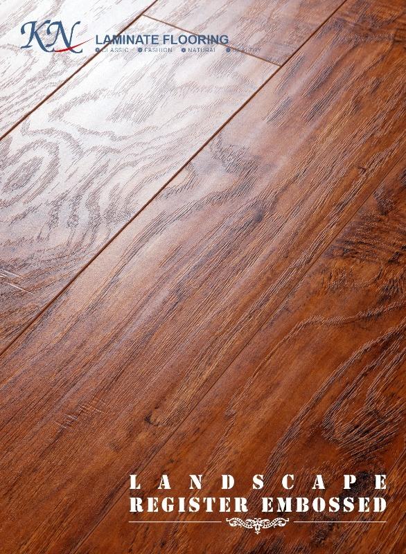 Hickory Laminate Flooring V-Bevel Painting HDF E1 Embossed-in-Register (EIR)