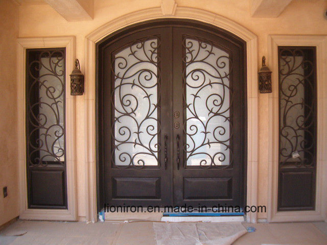 Super Quality Wrought Iron Entrance Doors with Sidelights