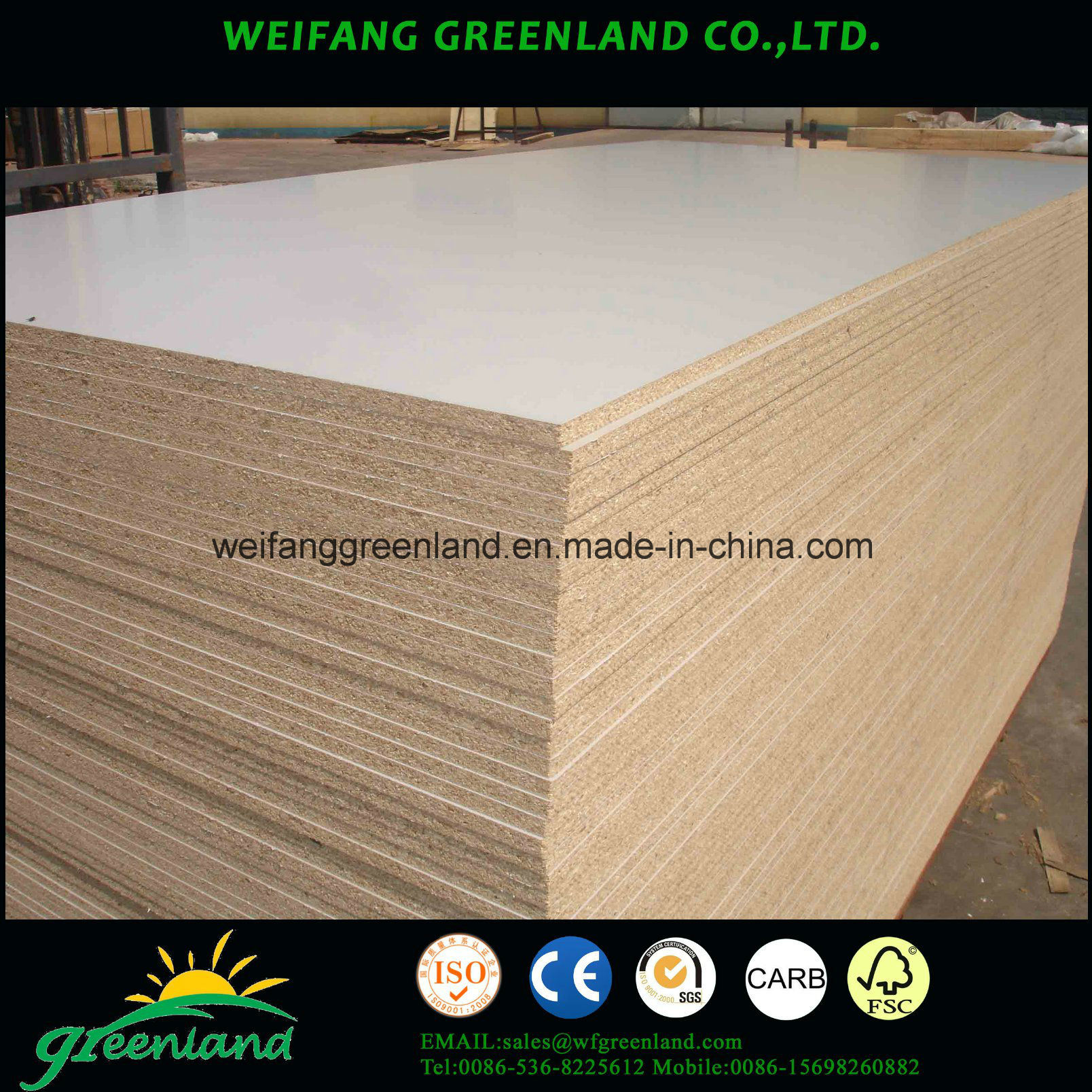 E1 Grade Wengecolour Laminated Chipboard for Furniture