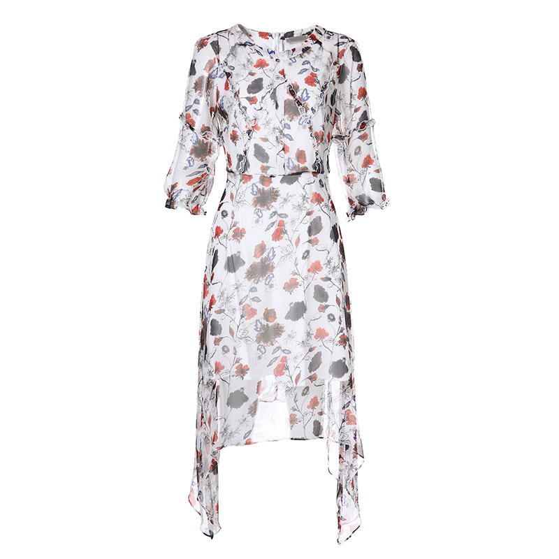 Irregular Hem Elastic Puff Floral Elegant Women Ladies Dress with Ruffle Front Fly