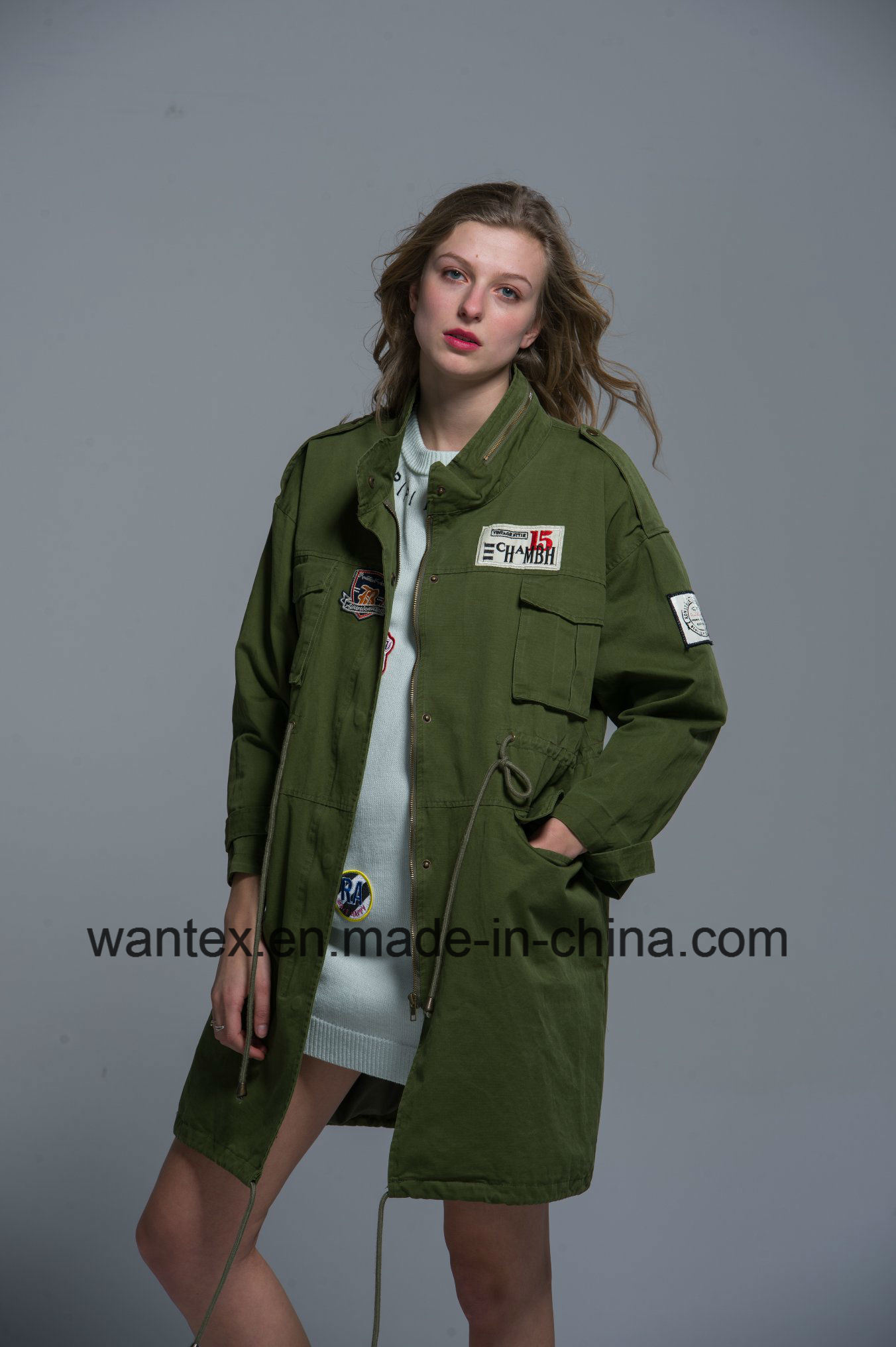Ladies 100% Cotton Coat Spring Autumn Fashion Comfortable Green Jacket