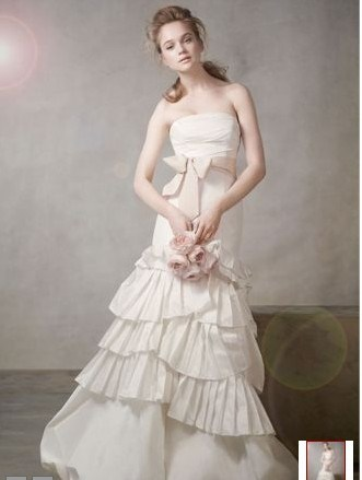 China 2011 mermaid gown with pleated skirt and bubble hem for Bubble skirt wedding dress