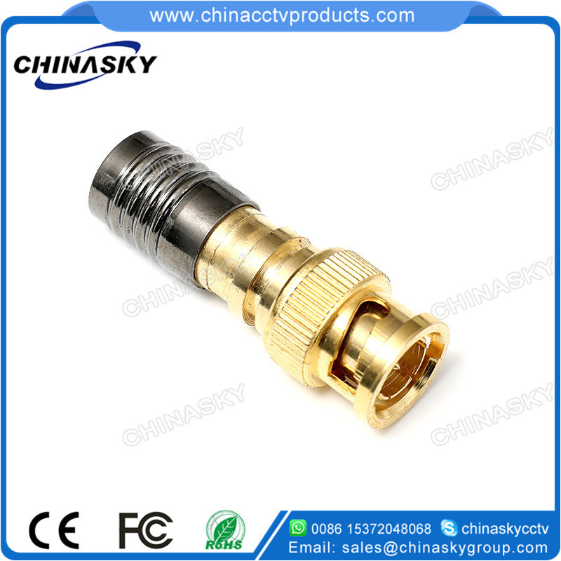 Gold Plated CCTV Coaxial Cable Male BNC Compression Connector (CT5078G/RG59)