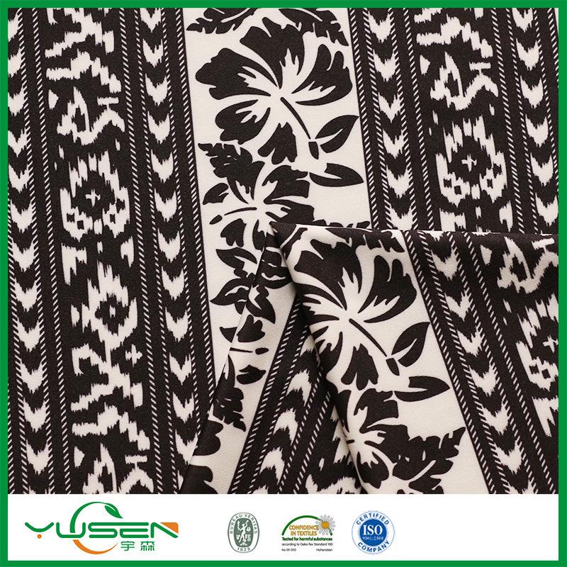 Black&White Leaves Printed Spandex Swimwear Fabric for Women