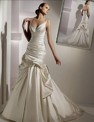 China V Neck Spaghetti Taffeta Sheath Wedding Gown Hs 197