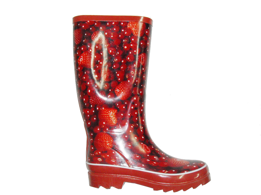 Women s Strawberry Print Rubber Boots