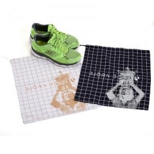 Black / White Fashion Plaid Cotton Drawstring Shoe Bag
