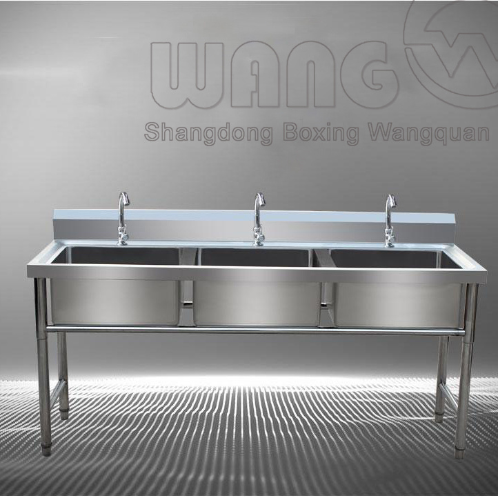 Stainless Steel Three Bowl Sink With Open Base