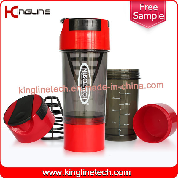 600ml Plastic Shaker Bottle Logo Printing with Plastic Sieve & One Bottom Container(KL-7008)