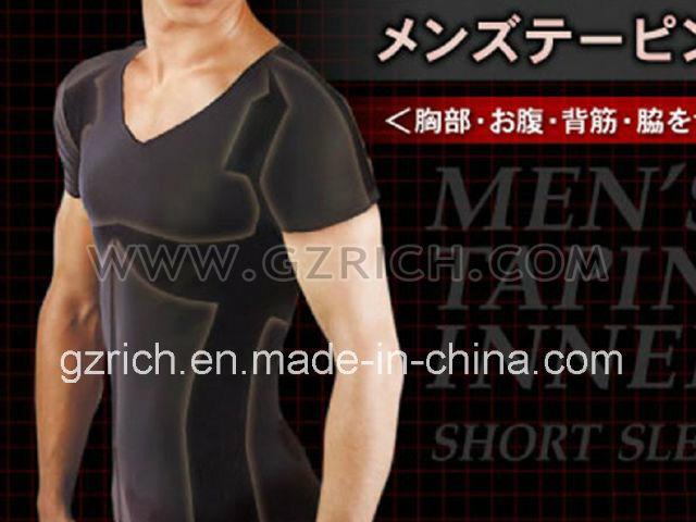Body Shaper Men′s Taping Inner Black Short Sleeve/Men T-Shirts