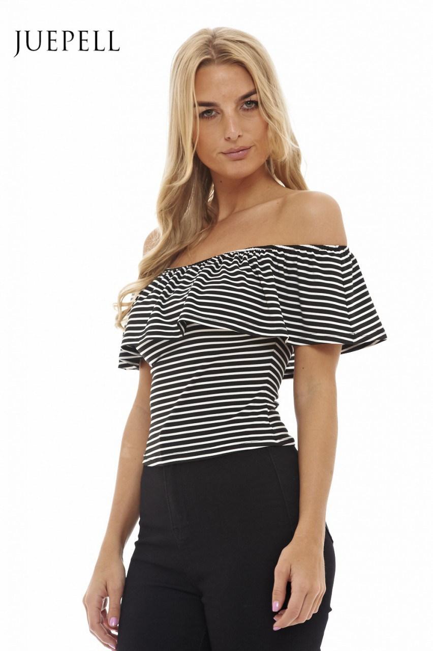 off Shoulder Stripe Women Blouse