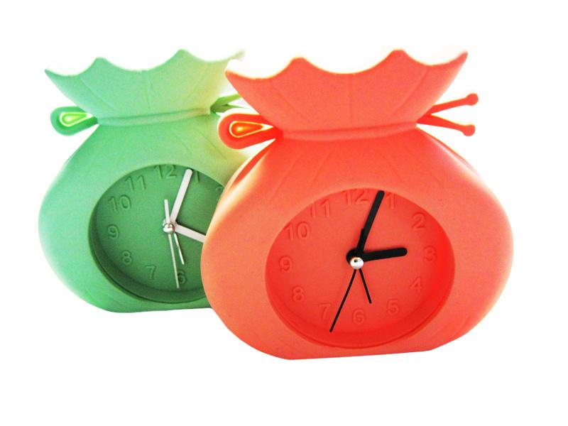 Modern Promotional Indoor Decoration Watch Shape Logo Printed Silicone Mini Desk Alarm Clocks