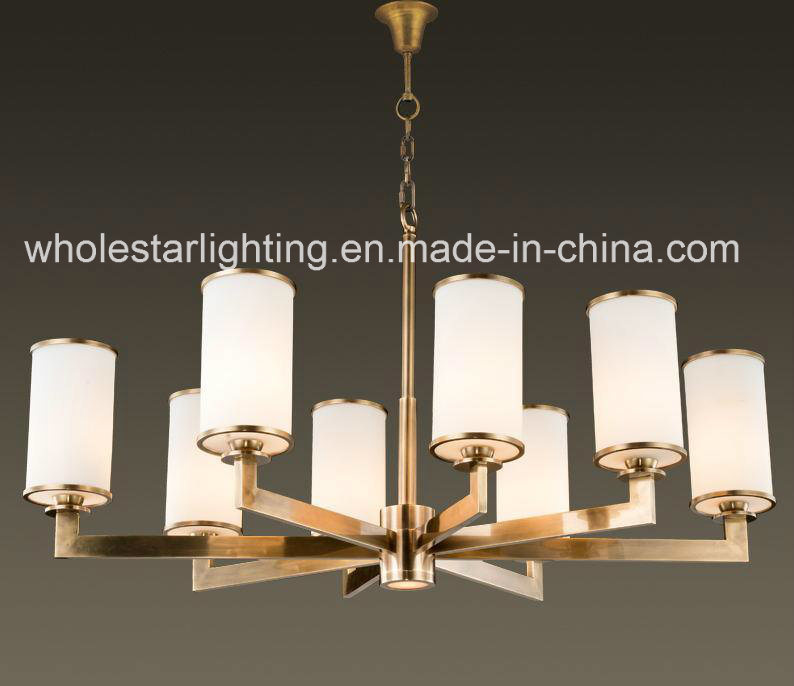 Modern Metal Chandelier with Clinder Glass Shade (WHG-6069)