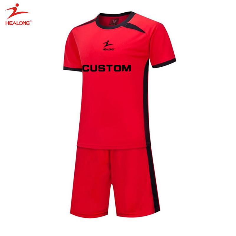 Healong Custom Red Soccer Unifroms Sportswear Cool Sublimation Soccer Jersey