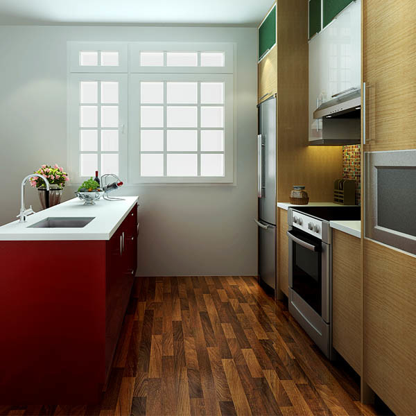 Oppein USA Project Fashion Red PVC Wooden Kitchen Furniture (OP14-PVC07)