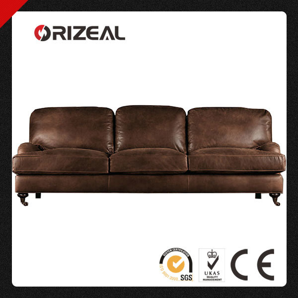 Orizeal English Roll Arm Genuine Leather Sofa (OZ-LS-2025)