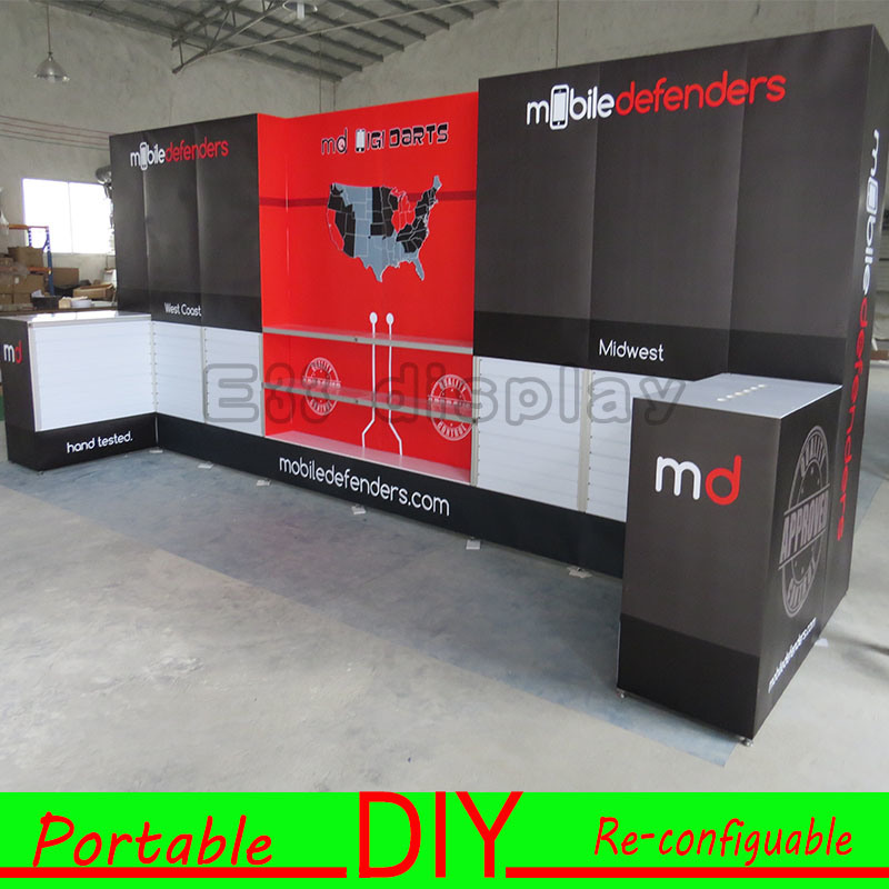Custom Portable Trade Show Exhibition Slatwall Display Shelf