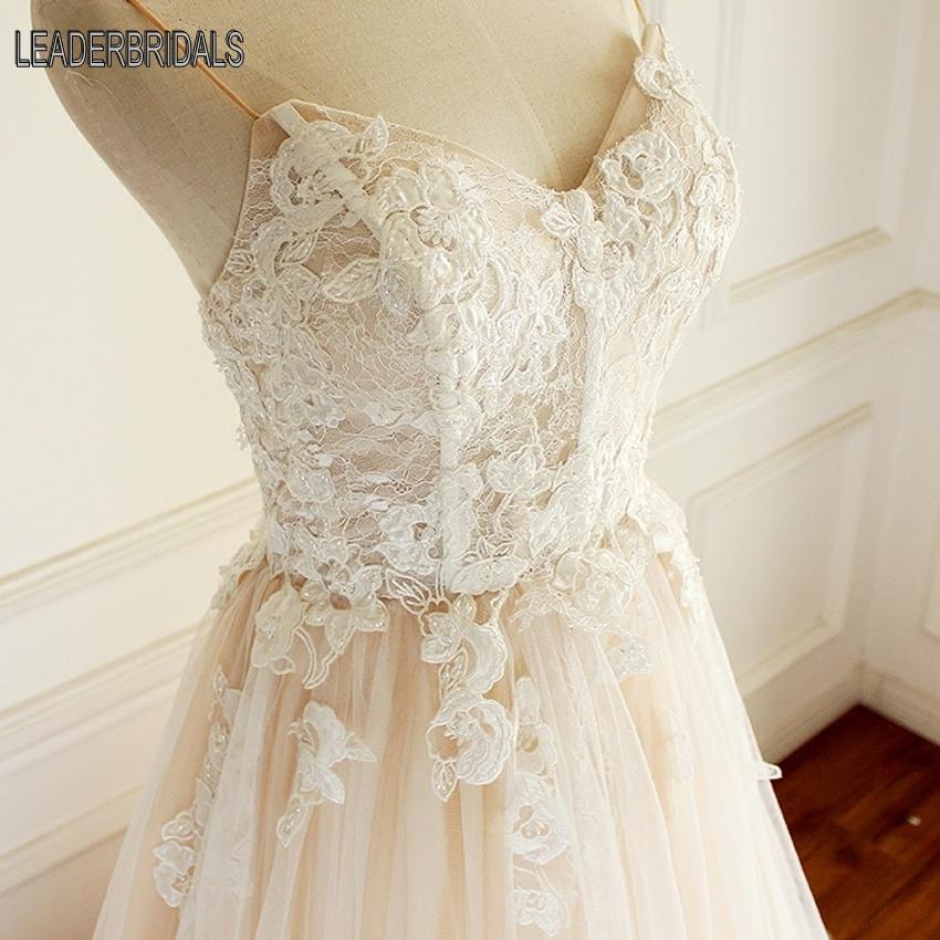 2018 New Blush Wedding Dress Spaghetti Straps Lace Tulle Bridal Ball Gown Lb1539