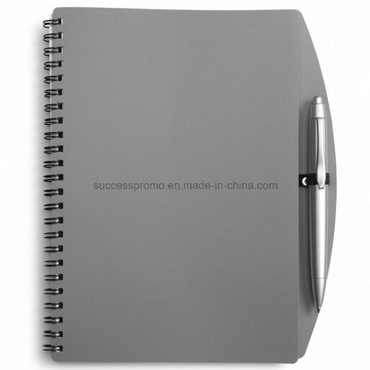 Custom PP Plastic Cover Spiral Agenda Notebook with Pen