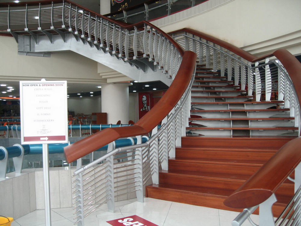 China wooden handrail glass railing system photos