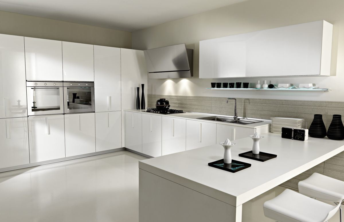 Home Kitchen Furniture White Modern High Gloss Pvc Kitchen Cabinet