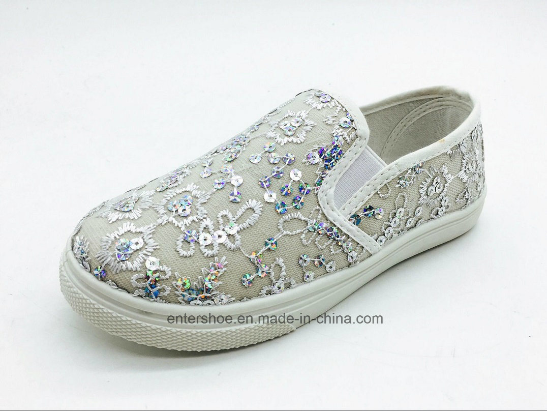 Gold Color Children Leisure Shoes with PVC Outsole (ET-AL160250K)