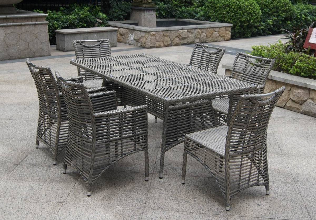 Outdoor rattan table and chair set bz d081a photos for Garden furniture table and chairs