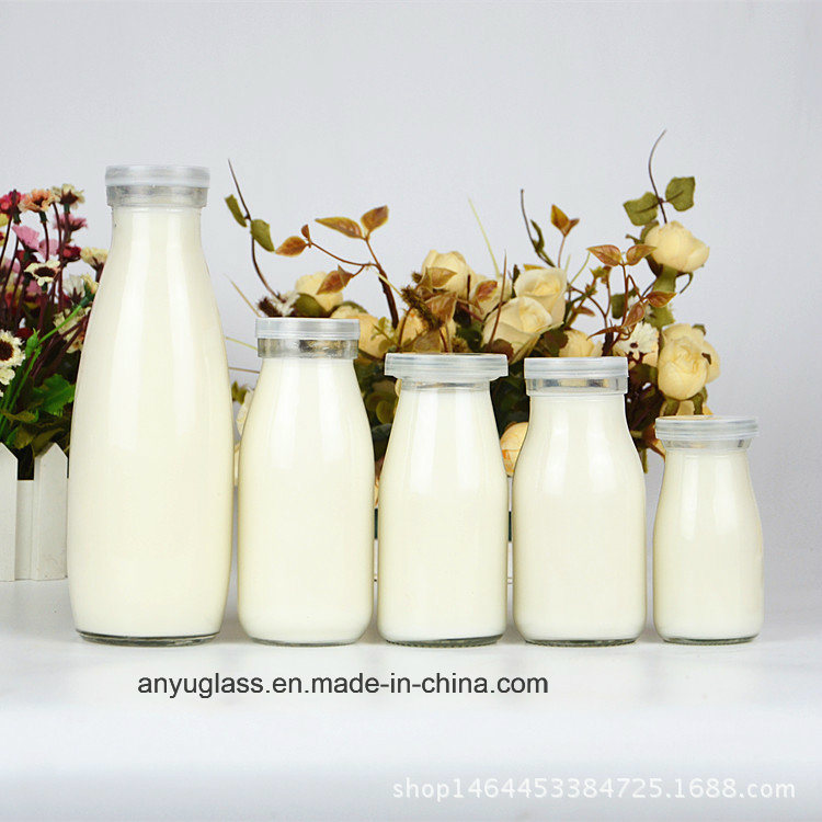 100ml, 250ml, 500ml, 1000ml Clear Round Milk Glass Bottles with Plastic Lid