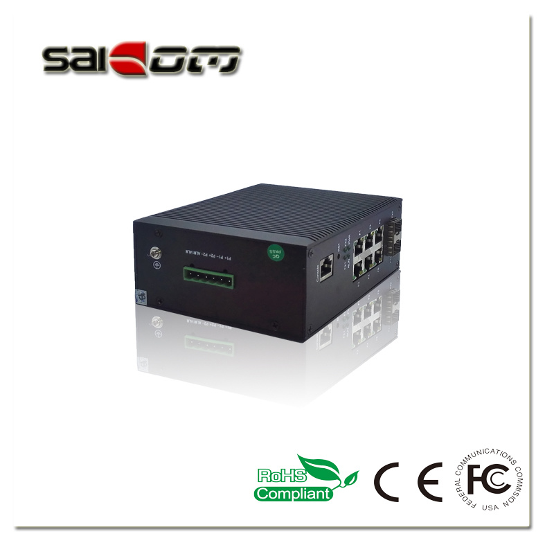 100Mbps 2 Fx+6 Fe Industrial Unmanaged Fiber Network Switch