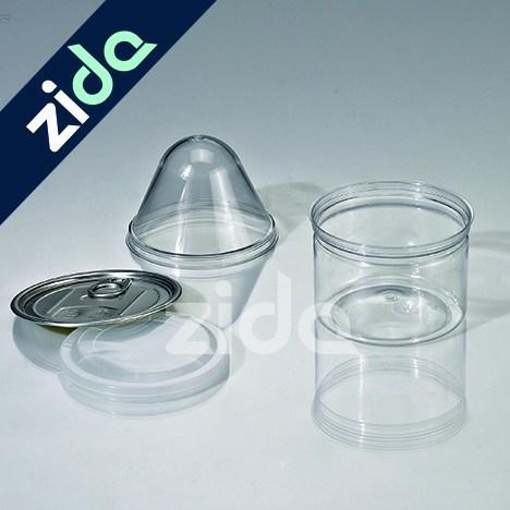 Clear Pet Plastic Mason Jars Pull-Ring Plastic Jar with Tin Lid