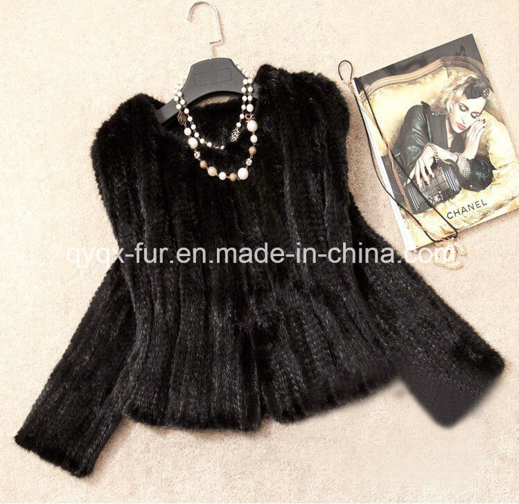 Women′s Knitted Short Mink Fur Coat