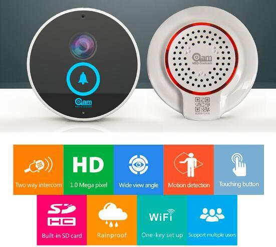 Smart Door Bell Camera WiFi Video Intercom Two Way by iPhone ISO Android Phone in Night Verison and Waterproof