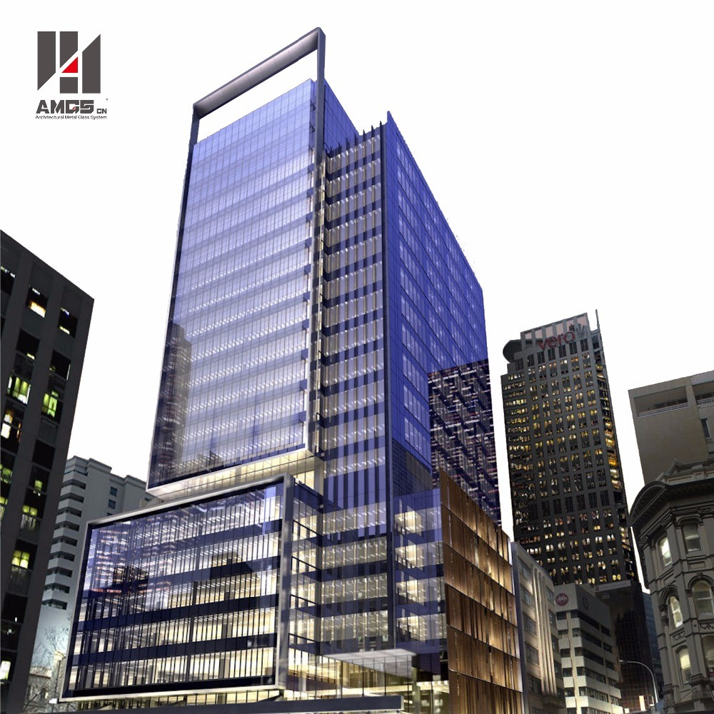 Building Exterior Facade Reflective Glass Visible Framing Aluminum Curtain Wall System with Aluminum Panel