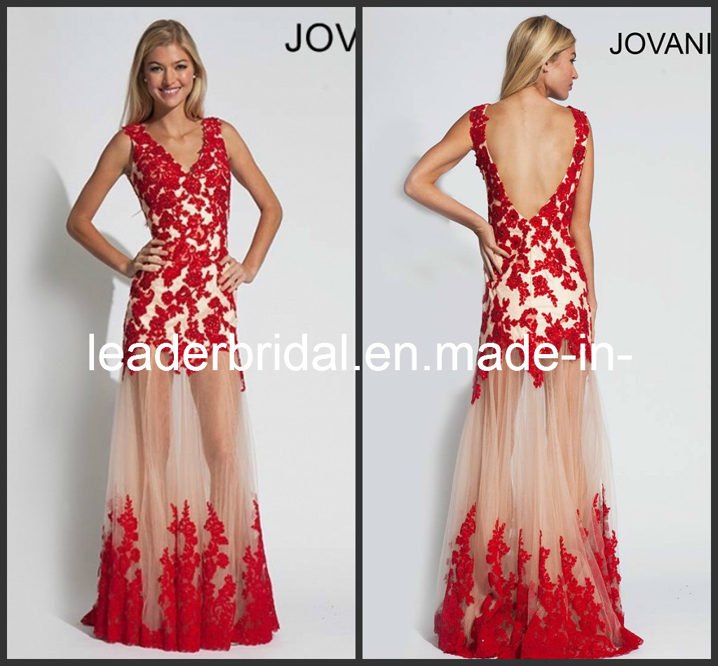 China Red Lace Prom Dress V-Neck Ankle Length Evening ...