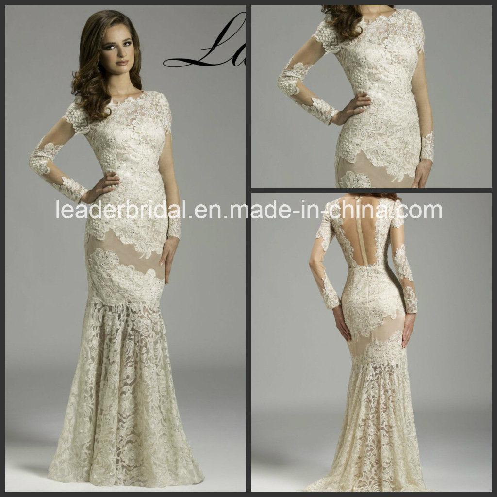 China Cream Lace Sheer Long Sleeves Mermaid Wedding Dress