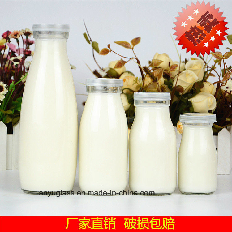 100ml, 250ml, 500ml, 1000ml Clear Round Milk Glass Bottles with Plastic Lid