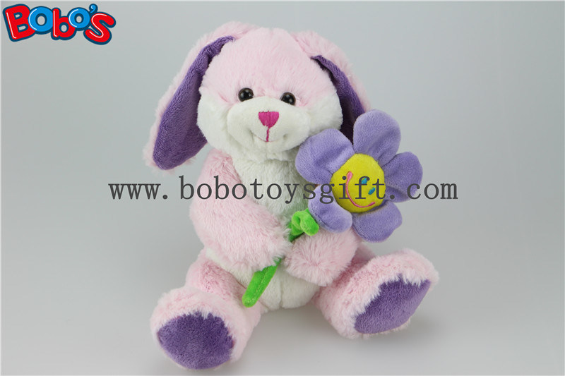 Pink Bunny Toy Stuffed Animal Toy with Sun Flower as Valentine Gifts Bos1155