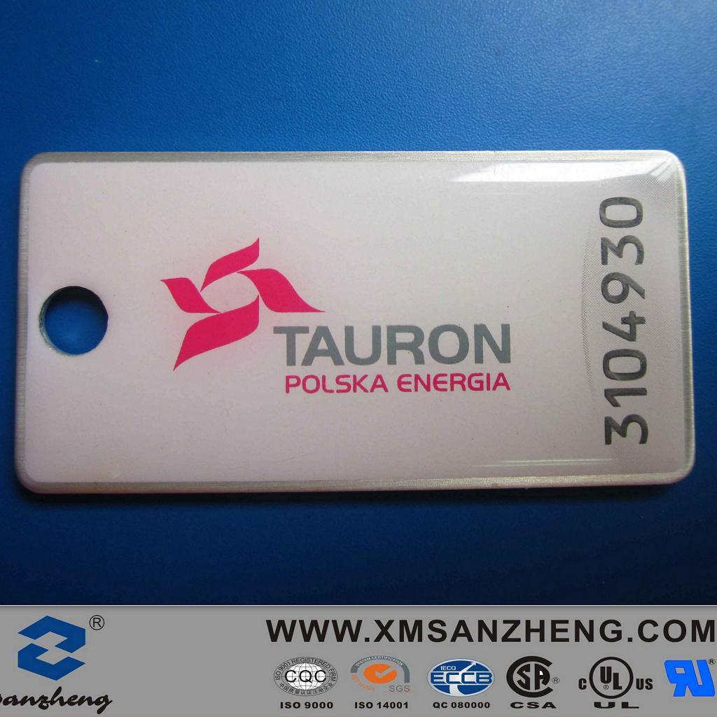 PU Resin Dome Metal Label with Serial Number