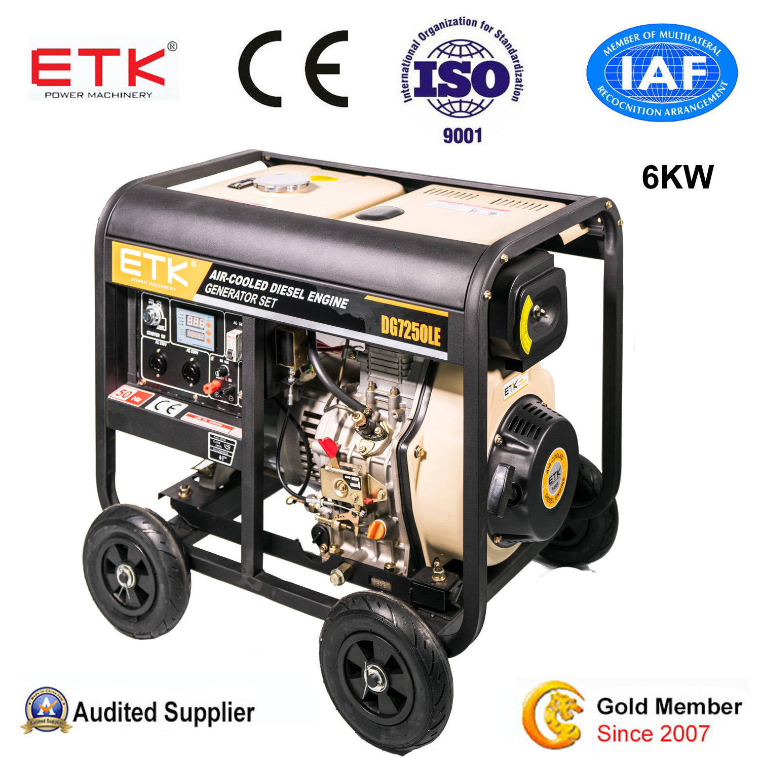 China Easy Operation Air Cooled Diesel Generator Set 6KW China