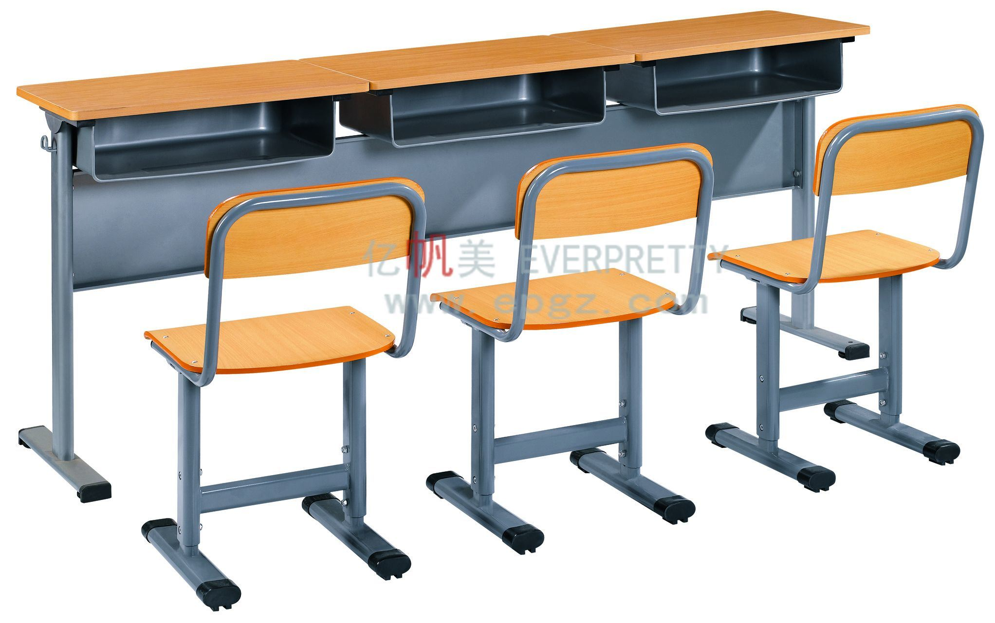 China popular 3 seater student desk and chair school table for Table de student 99