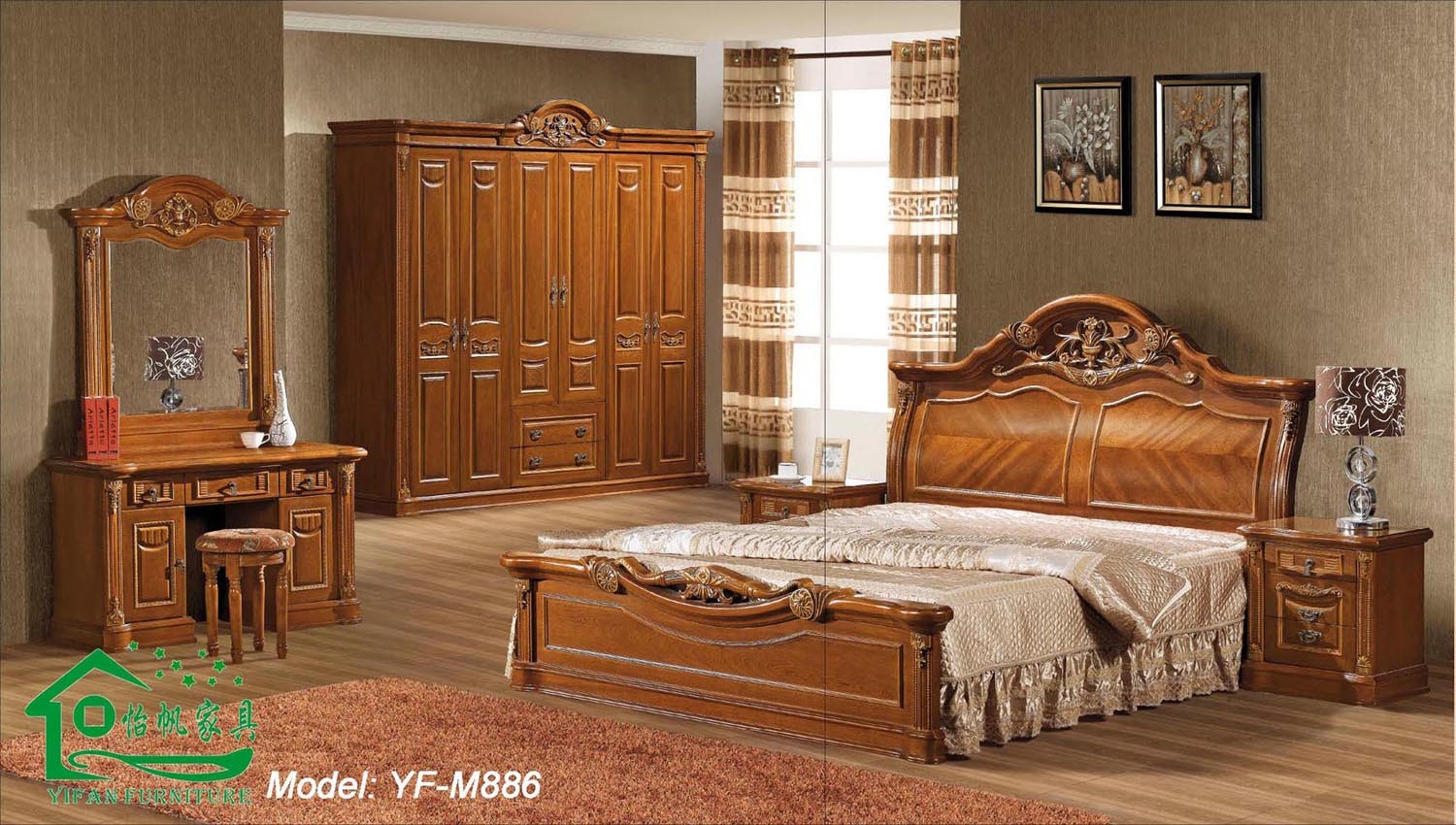 new design solid wood bedroom furniture yf m886 photo wood bedroom