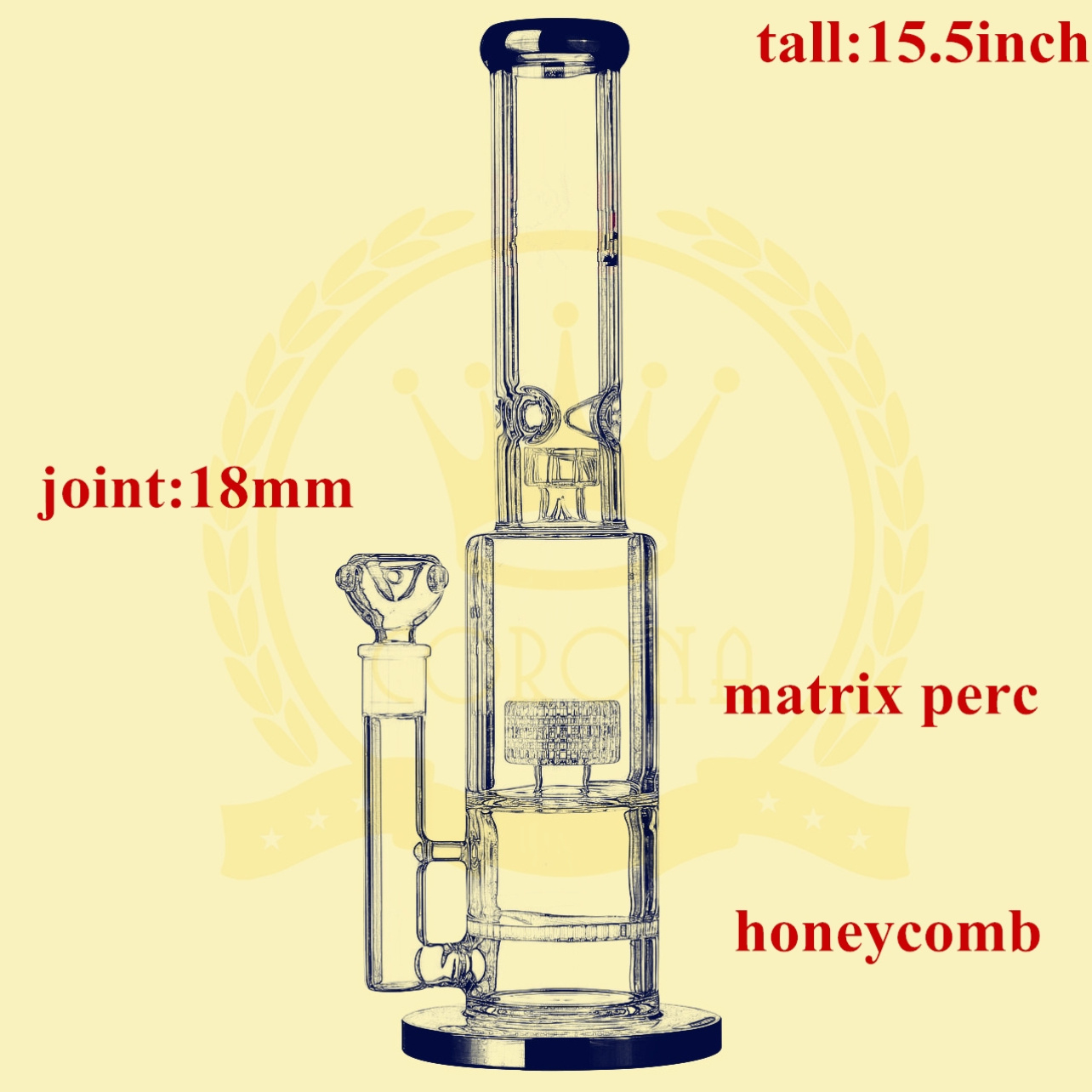 China Factory Price Shower Mushroom Perc Glass Water Pipe Wholesale High Quality Recycler Glass Smoking Water Pipe