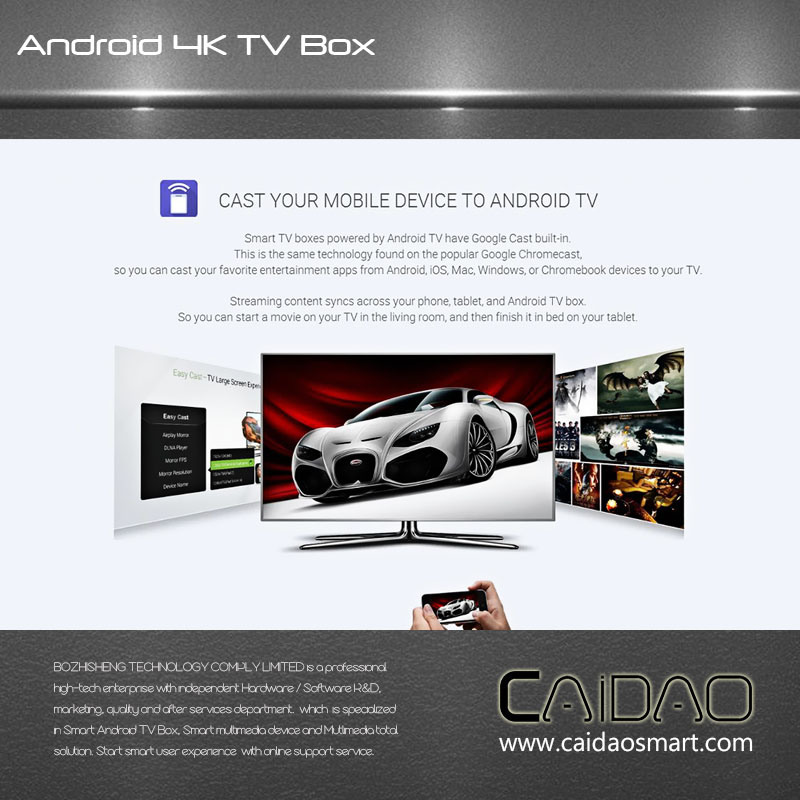Smart TV Box Based on Arm Cortex A53 64bit Processor. 2GB+16GB Quad Core Tvbox Customization
