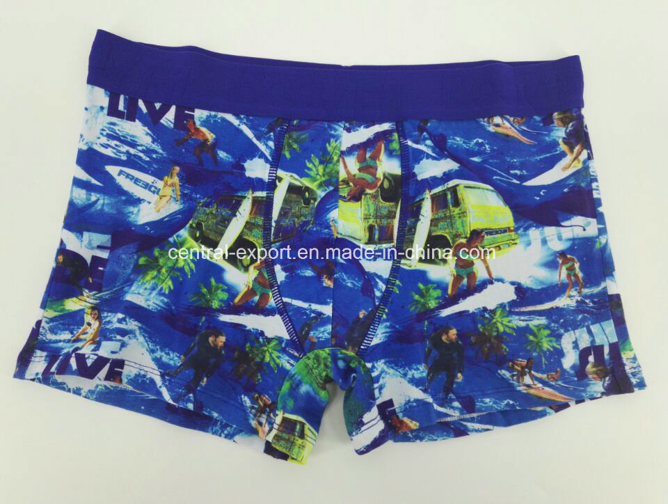 Various Color Cotton All Over Print Men′s Boxer Brief Men Underwear