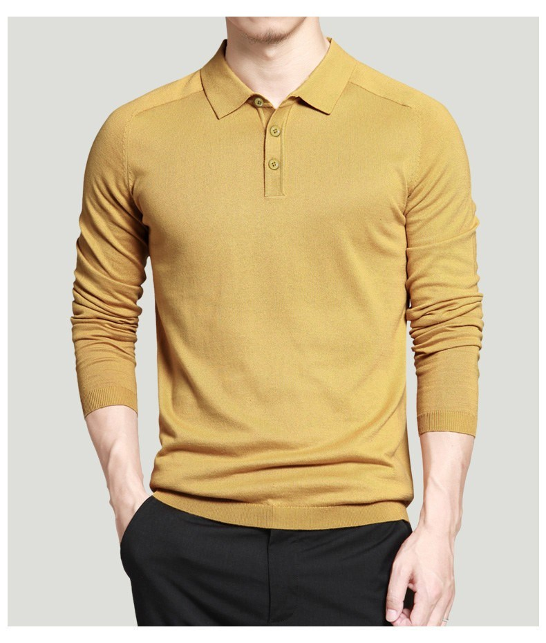Custom 2017 Mens Polo Sweaters Simple Style Cotton Knitted Long Sleeve Big Size 3XL 4XL Spring Autumn Shirts