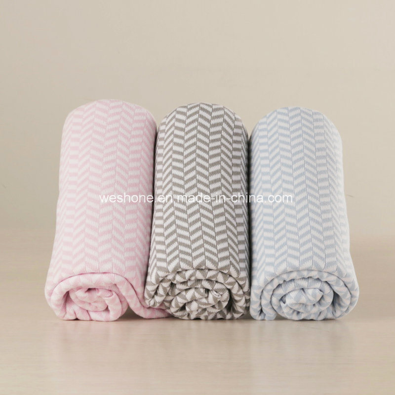 100% Cotton Knitted Reversible Soft Baby Blanket