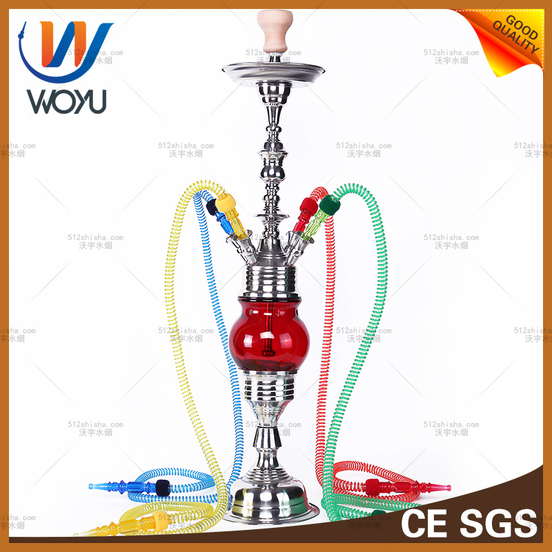 Electronic Cigarette Nargile Stainless Steel for Loung Bar Red Glass Pipe Shisha Hookah