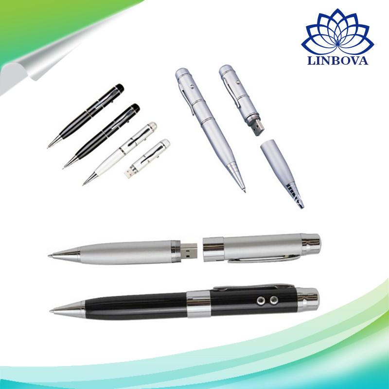 2 in 1 Metal USB Drive 32GB Laser Ballpoint Pen USB Flash Drive Pendrive 8g 16g 32g
