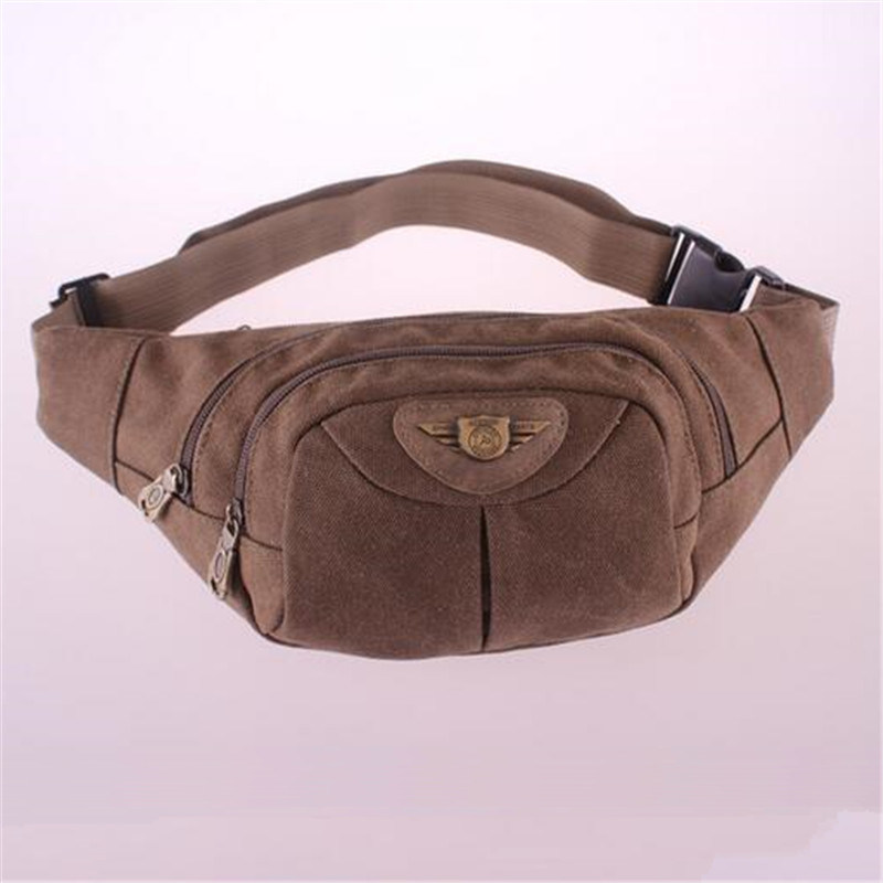 Casual Sports Bag Zipper Pocket Soft Canvas Waist Bag (GB#701)