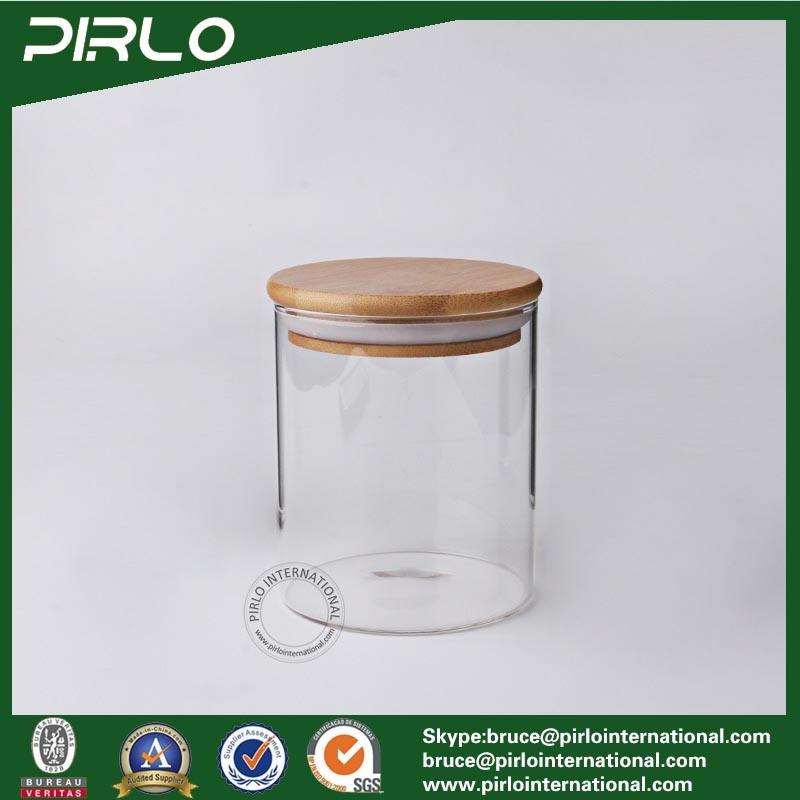 90ml 170ml 300ml 400ml 500ml 600ml800ml Airtight Heat Resistant Borosilicate Glass Food Storage Jar with Rubber Seal Bamboo Lid